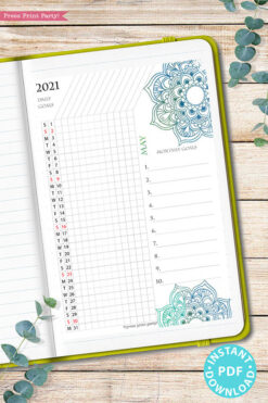 2021 Daily Routine Printables, Habit Tracker, Watercolor Mandala Bullet Journal Printable, Daily Tracker Goal Planner, INSTANT DOWNLOAD