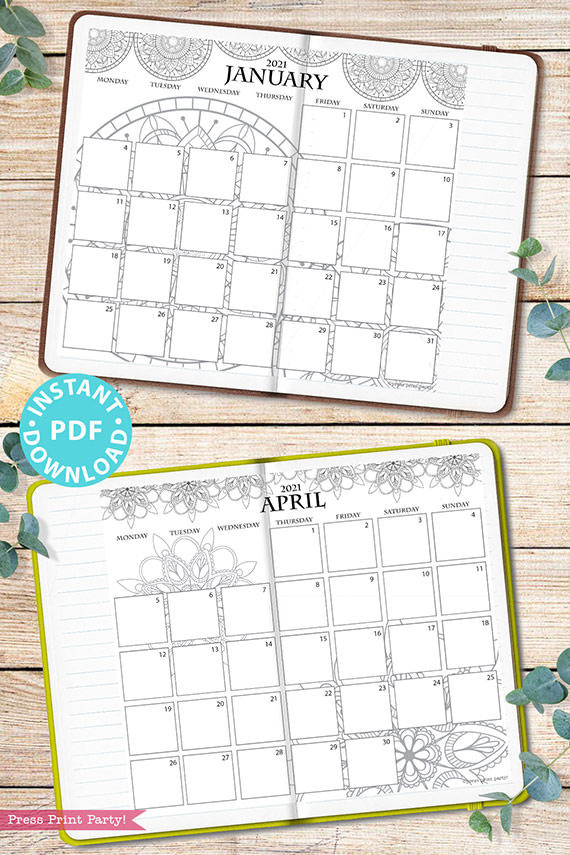 MONDAY Start 2021 Monthly Printable Calendar Template, Mandala Coloring, Bullet Journal Calendar Download, Monthly Planner, INSTANT DOWNLOAD