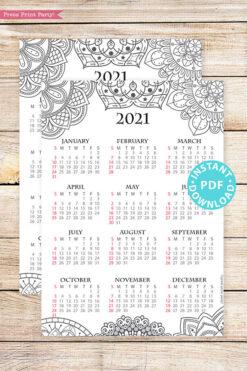2021 Calendar Template Printable, Mandala, Bullet Journal Printable Calendar Download, Yearly Calendar Insert, INSTANT DOWNLOAD