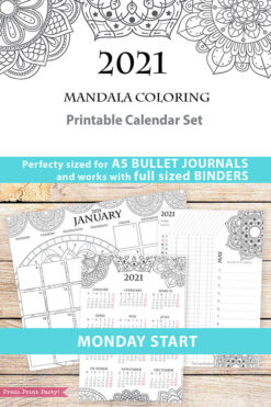 MONDAY Start, 2021 Calendar Template Printable Set, Mandala, Bullet Journal, Monthly Planner, Daily Routine, Coloring, INSTANT DOWNLOAD