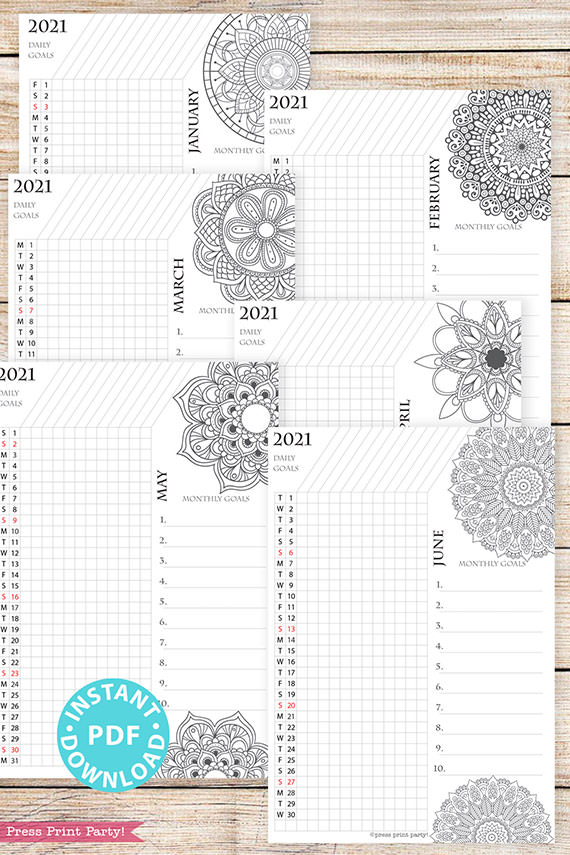 January, February, March, April, May, June, 2021 Daily Routine Printables, Habit Tracker, Mandala Coloring, Bullet Journal Printable, Daily Tracker Goal Planner, INSTANT DOWNLOAD