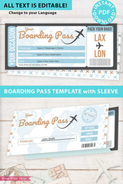 Boarding Pass Template w. Holder Editable Text Printable, Vacation Surprise Trip Gift Voucher Flight Airline Ticket, Blue, INSTANT DOWNLOAD