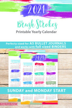 2021 Yearly Calendar Template Printable, Brush Strokes Design, Bullet Journal Printable Calendar Insert, One Page Calendar, INSTANT DOWNLOAD