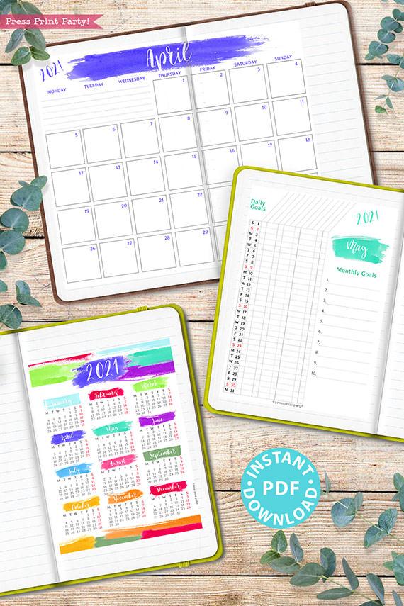 MONDAY Start 2021 Printable Calendar Template Set, Brush Strokes, Bullet Journal Printable Inserts, Monthly Calendar, INSTANT DOWNLOAD