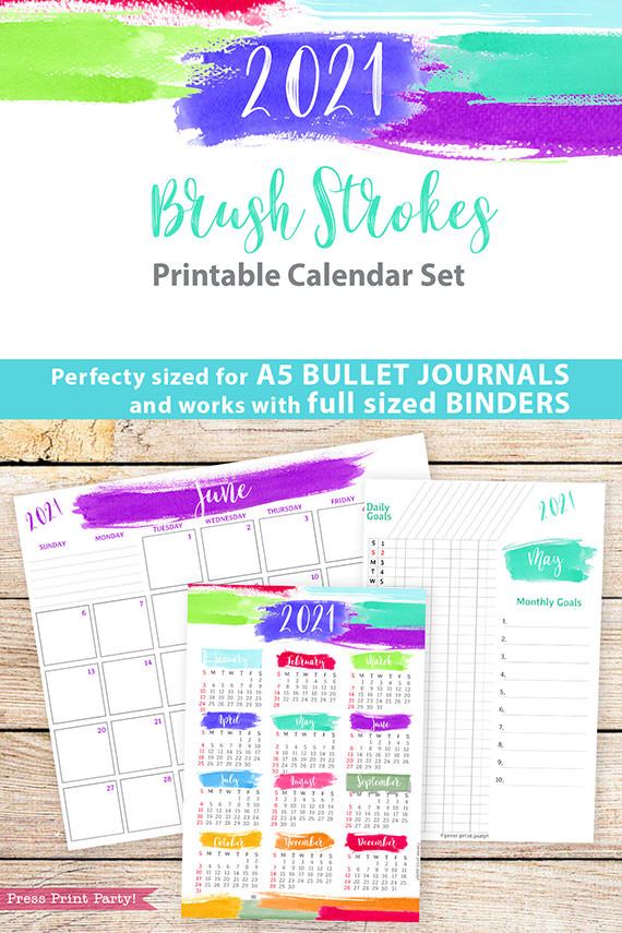 2021 Printable Calendar Template Set, Brush Strokes, Bullet Journal Printable, Inserts, Monthly Calendar Daily Routine, INSTANT DOWNLOAD