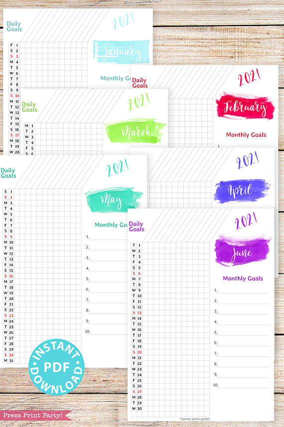 January, February, March, April, May, June, 2021 Daily Routine Printables, Habit Tracker, Brush Strokes Design, Bullet Journal Printable, Daily Tracker Goal Planner, INSTANT DOWNLOAD