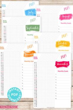 July, August, September, October, November, December, 2021 Daily Routine Printables, Habit Tracker, Brush Strokes Design, Bullet Journal Printable, Daily Tracker Goal Planner, INSTANT DOWNLOAD