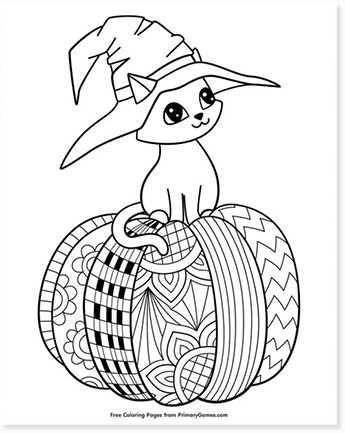 free halloween printable coloring sheets - website roundup - cat on pumpkin coloring pages