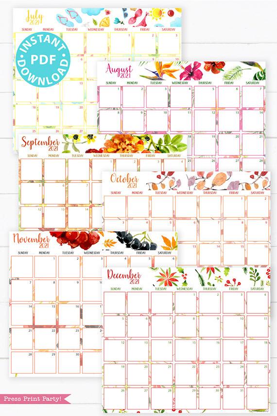 July, August, September, October, November, December,2021 Monthly Printable Calendar Template, Watercolor Designs, Bullet Journal Calendar Download, Monthly Planner, Sunday, INSTANT DOWNLOAD