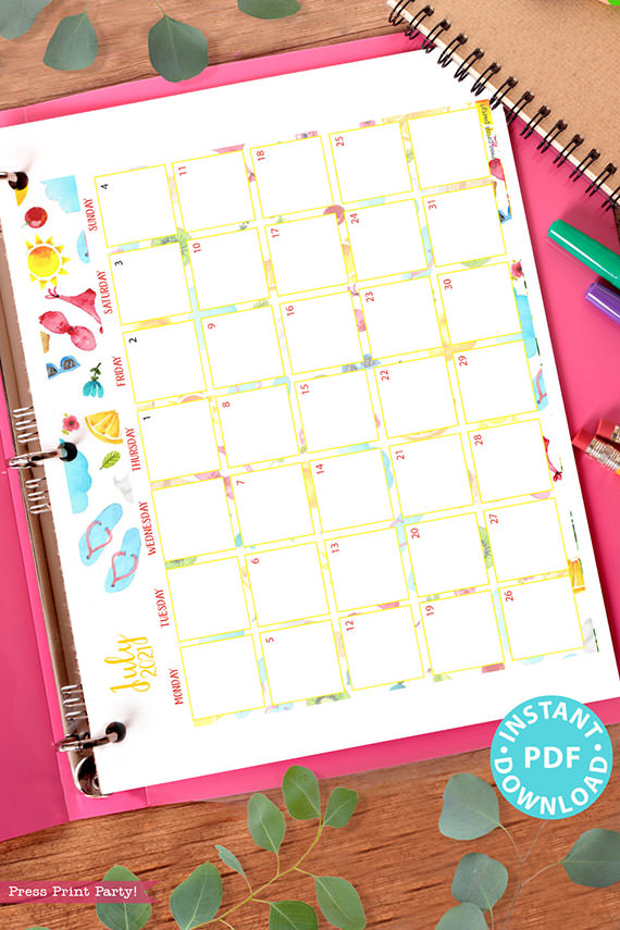 July MONDAY Start 2021 Monthly Printable Calendar Template, Watercolor Designs, Bullet Journal Calendar, Monthly Planner, INSTANT DOWNLOAD