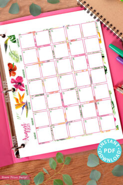 August 2021 Monthly Printable Calendar Template, Watercolor Designs, Bullet Journal Calendar Download, Monthly Planner, Sunday, INSTANT DOWNLOAD