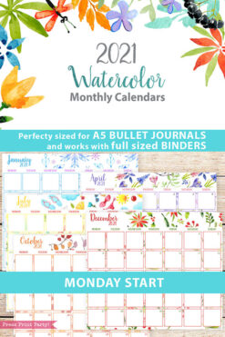 MONDAY Start 2021 Monthly Printable Calendar Template, Watercolor Designs, Bullet Journal Calendar, Monthly Planner, INSTANT DOWNLOAD