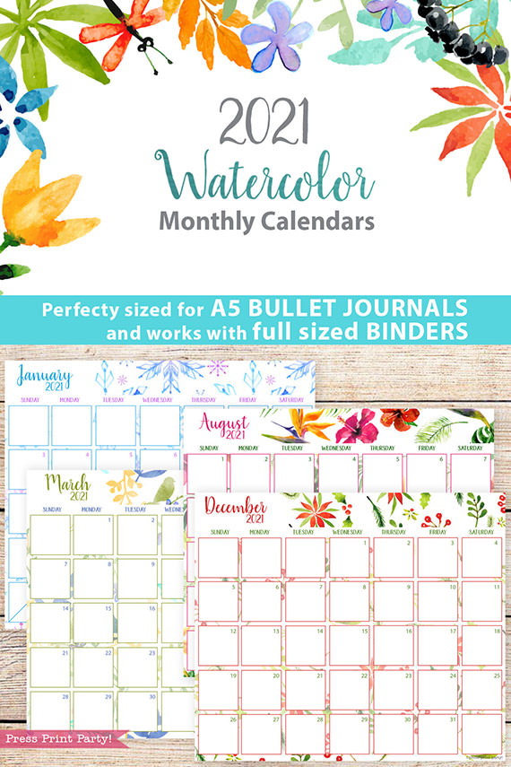 2021 Monthly Printable Calendars, Watercolor - Press Print ...