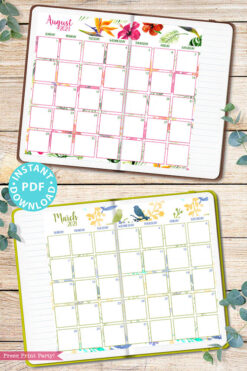 2021 Monthly Printable Calendar Template, Watercolor Designs, Bullet Journal Calendar Download, Monthly Planner, Sunday, INSTANT DOWNLOAD