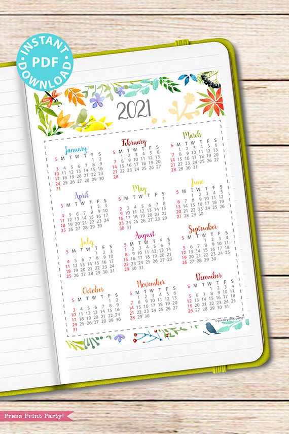 2021 Yearly Calendar Template Printable, Watercolor Designs, Bullet Journal Printable Calendar Insert, One Page Calendar, INSTANT DOWNLOAD