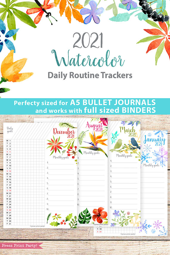 2021 Daily Routine Printables, Habit Tracker, Watercolor Designs Bullet Journal Printable, Daily Tracker Goal Planner, INSTANT DOWNLOAD