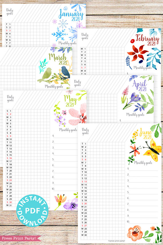 January, February, March, April, May, June, 2021 Daily Routine Printables, Habit Tracker, Watercolor Designs Bullet Journal Printable, Daily Tracker Goal Planner, INSTANT DOWNLOAD
