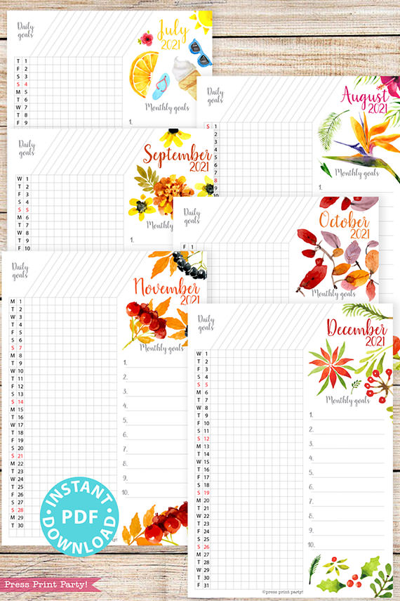 July, August, September, October, November, December, 2021 Daily Routine Printables, Habit Tracker, Watercolor Designs Bullet Journal Printable, Daily Tracker Goal Planner, INSTANT DOWNLOAD