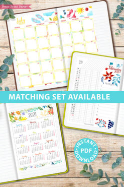 MONDAY Start 2021 Printable Calendar Template Set, Watercolor design, Bullet Journal Printable, Inserts, Monthly Calendar Daily Routine, INSTANT DOWNLOAD