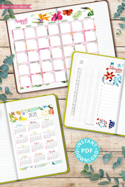 2021 Printable Calendar Template Set, Watercolor design, Bullet Journal Printable, Inserts, Monthly Calendar Daily Routine, INSTANT DOWNLOAD