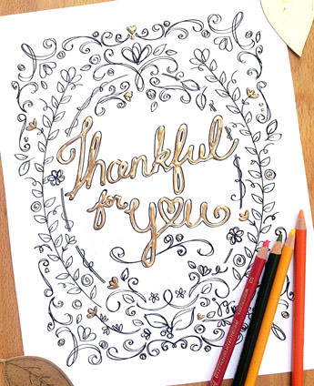 Thanksful for you coloring page