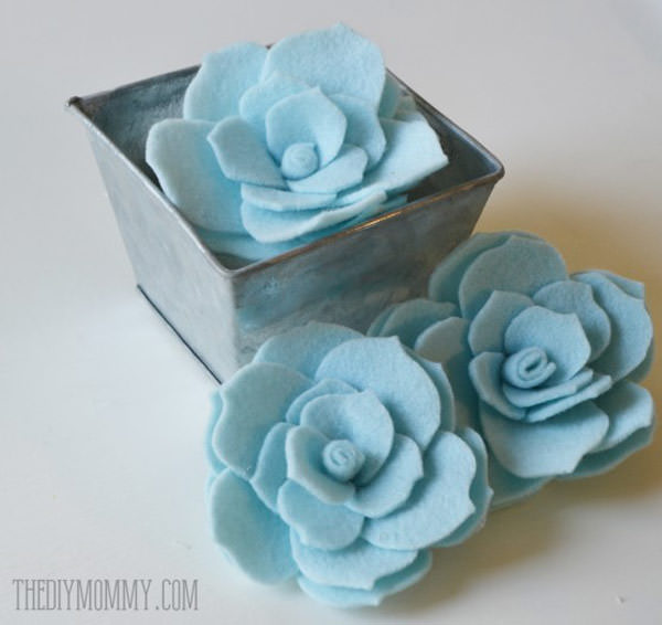 succulent felt flowers in pot as a diy gift for mom for christmas, mothers day or birthday
