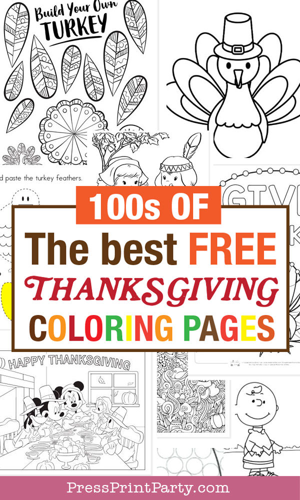 100s of the best free thanksgiving coloring pages Press Print Party