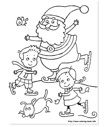 santa skating on ice with kids and a dog coloring page