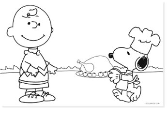 peanuts charlie brown and snoopy with turkey free coloring page