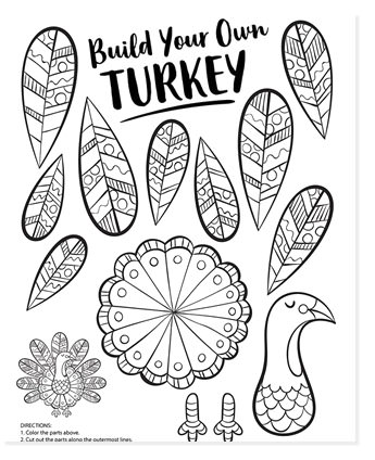 build your own turkey coloring page