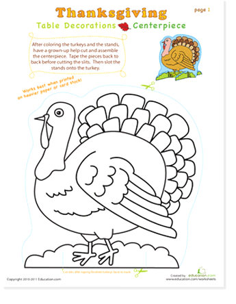 turkey activity page and coloring thanksgiving