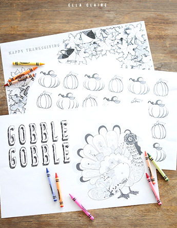 free thanksgving placemats coloring