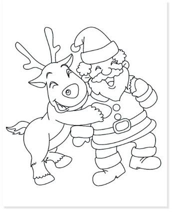 santa and rudolf coloring sheet printable