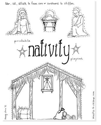 nativity playset printable game for christmas