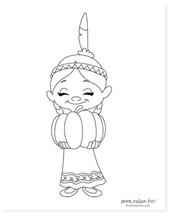 indian girl with pumpkin coloring page