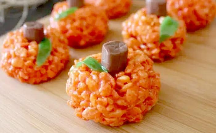 rice krispie pumpkins - Cute desserts for thanksgiving