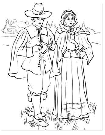 pilgrim boy and girl free coloring sheets