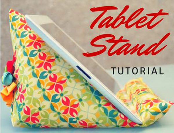 ipad or tablet stand tutorial diy with fun fabric.