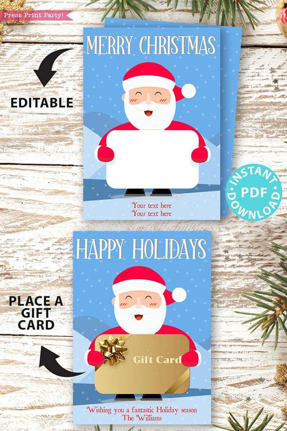 Christmas Gift Card Holder Printable Santa Press Print Party