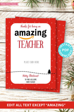 Amazon gift card holder for christmas Thank you card, thanks for being an amazing teacher, editable text, template instant download pdf, Press Print Party red dots