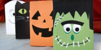 Free Halloween Printable Treat Bags by Press Print Party Frankenstein, ghost cat and pumpkin paper treat party bags