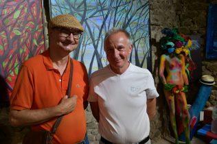 Thierry Lambert, artiste peintre et Serge RAULT, maire de Saint-Pierre-de-Bœuf à Galerie d'Art Emma