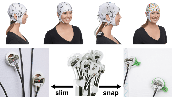 Figure 1: slim cap on the left versus snap cap on the right. In the slim cap, electrodes are embedded directly in the fabric, whereas in the snap cap only the holders are embedded into which electrodes can quickly be inserted.