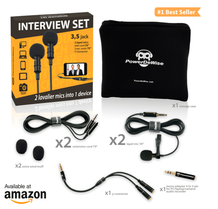 PowerDeWise Dual Mics INTERVIEW SET offers Extremely Easy Interview Recording 2