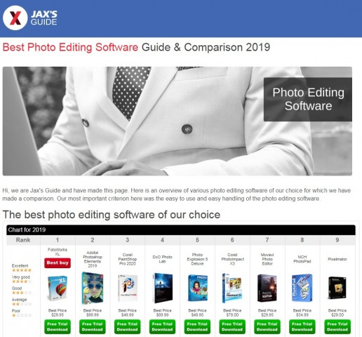 Jax's Guide contributes to the digital world by offering a comparison of best photo editing software 1