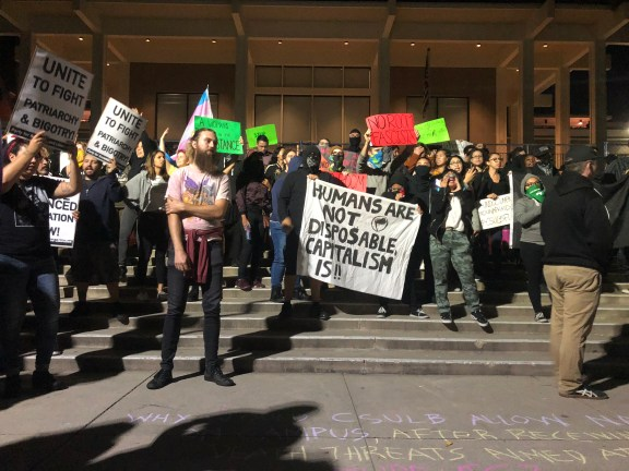 Image result for Pictures of Campus Clash protest in Cal State Long Beach