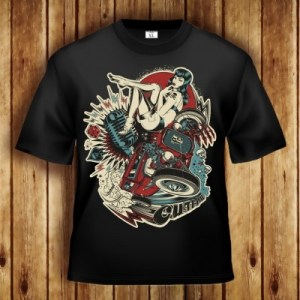 OUTLAW - Pressure Clothing T-Shirt Motiv mit Hot-Rod V8 Staub Oldschool Mikrofon Skull Dice Spade Donner Blitzen sexy Pin-Up Betty Page Stil