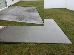 Before and After photo of concrete cleaning