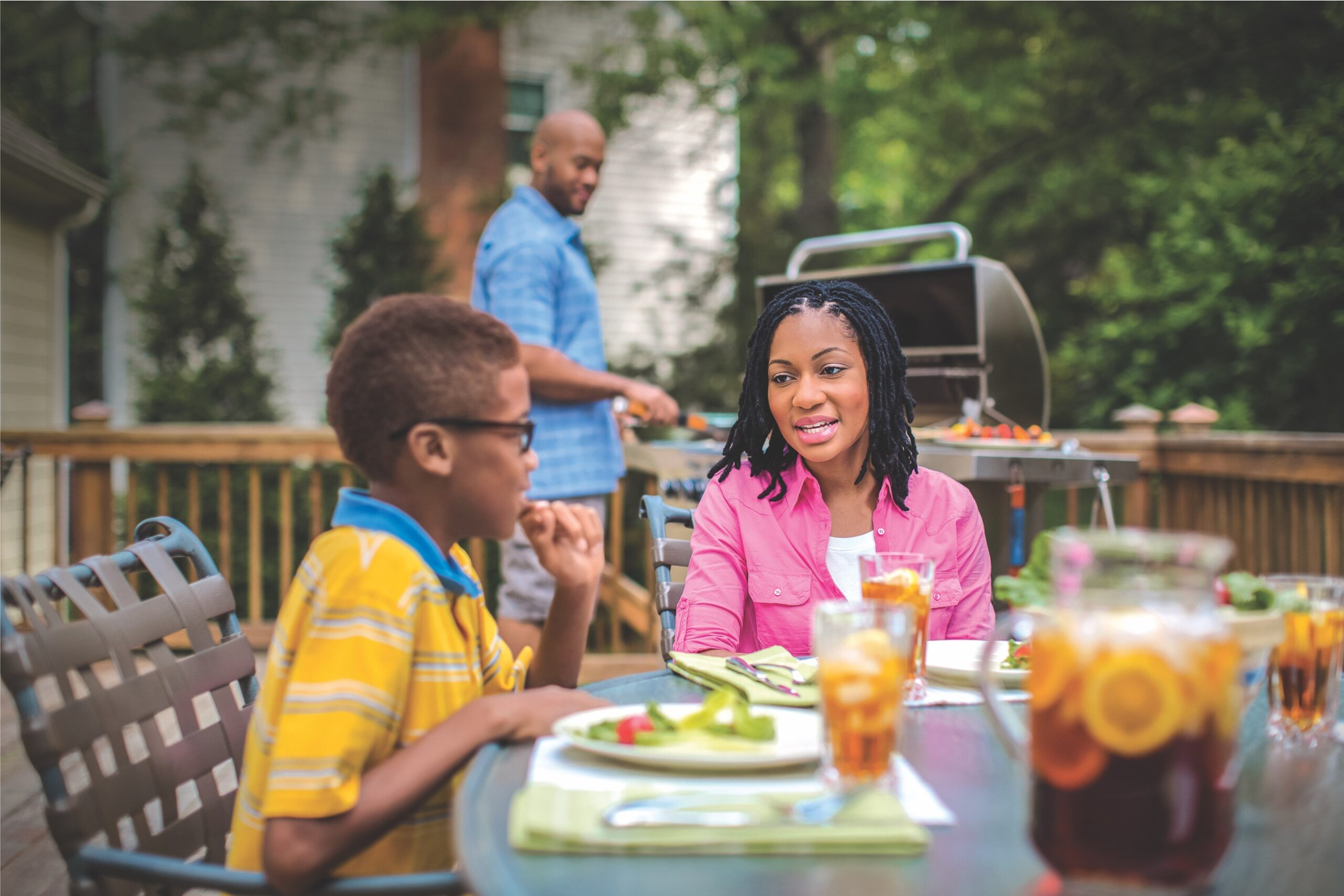 Family Grilling Outdoors