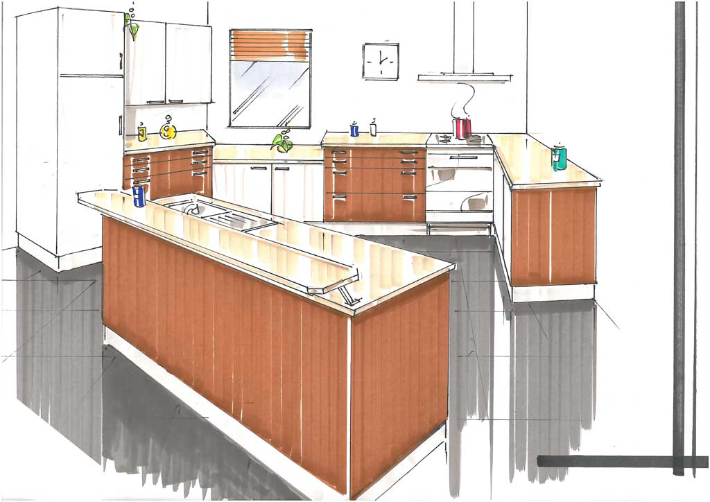 Comment dessiner un comptoir de cuisine - Cuisine avec comptoir bar ...